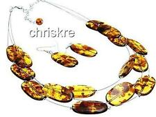"Honey Amber Necklace Earrings Set Choker Bib 16-19"" Simulated Silver Chunky"