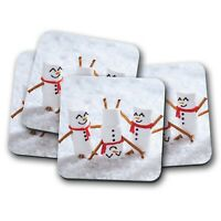 4 Set - Cute Marshmallow Men Coaster - Snowman Snow Winter Kids Joke Gift #12425