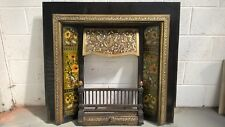 Victorian cast iron and brass tiled insert Fireplace