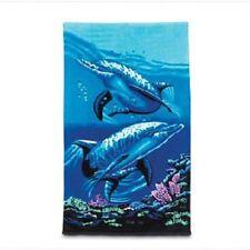 "Blue BOTTLE NOSE DOLPHIN BEACH TOWEL Pool Marine Animal Nautical Theme 30"" x 60"""