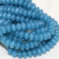 5x8mm Smooth Natural Brazilian Aquamarine Rondelle Gems Loose Beads 15'' AAA