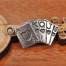 50pcs 25*13mm Charms poker pendant Diy Jewelry Making Tibet Silver Charm A7230