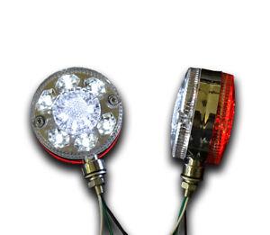 2 x 12V 24 LED CHROME RED WHITE SIDE MARKER OUTLINE LIGHTS TRUCK LORRY MOTORHOME