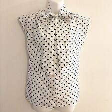 Vintage JCPenney Fashions Blouse White Blue Polka Dot Button Tie Front Womens 12