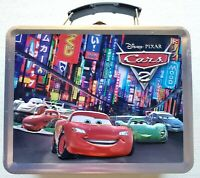 Disney Pixar Cars Lightning McQueen Mater Metal Lunch Box Carry case