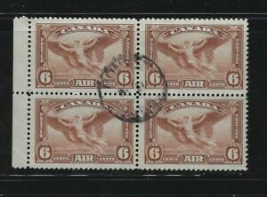 Canada 1935 Air mail Deadalus  #C5 block of 4 F-VF Used