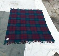 "Dark Red/Green Wool Throw Blanket 52"" x 64"" Faribault Woolen Mill Company Vintag"