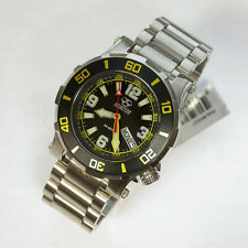 NEW GENTS $400 REACTOR 41MM SS BLACK/YELLOW DIAL 200M WR ATLAS DIVE WATCH #45007