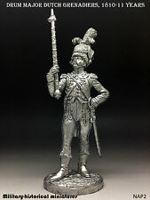 Major Dutch Grenadiers, Tin toy soldier 54 mm, figurine, metal sculpture