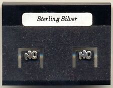 """""""No"""" Sterling Silver 925 Studs Earrings Carded"""