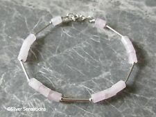Elegant Baby Pink Rose Quartz Small Tube Beads Bracelet & Sterling Silver Tubes