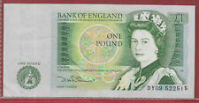 Bank of England £1 Banknote Signed  Somerset - 1981 to 88 Green No DY09 522515