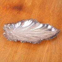 Silverplate Leaf Shape Scalloped Serving Bowl Platter Dish
