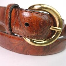 Men's Quality Handcrafted in America Leather Belt Embossed Croc Texture Brown
