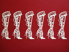 "6 Tattered Lace Die Cut Filigree ""Boots"" Embellishments"