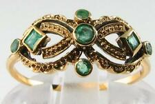 UNUSUAL 9CT 9K GOLD ALL EMERALD MASK ART DECO INS RING FREE RESIZE