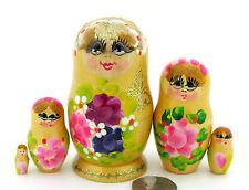 Russian Nesting Dolls Matryoshka Babushka Hand Painted 5 small Golden & Flowers