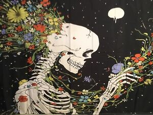 """NEW Skull w/Flowers Busting Out The Back Black Tapestry 60"""" x 40"""" Wall Decor"""