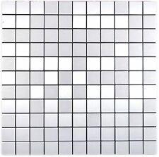selbstklebendes Aluminium Mosaik silber gebürstet 200-L7S_f | 10 Mosaikmatten