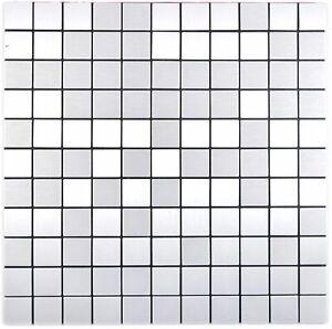 selbstklebendes Aluminium Mosaik silber gebürstet 200-L7S_f   10 Mosaikmatten