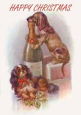 DACHSHUND AND CAVALIER KING CHARLES SINGLE DOG PRINT GREETING CHRISTMAS CARD