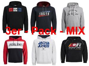 Jack & Jones 3er Pack Herren 2 Hoodies 1 Sweatshirt Mix Set Kapuzenpullover NEU