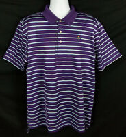 Peter Millar Polo Golf Shirt Mens Size XL Short Sleeve Purple Cotton Striped