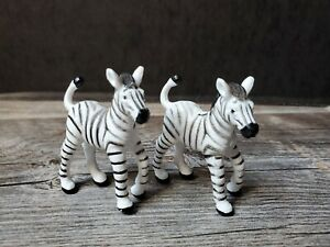 """Lot of 2 Toy Zebra Figures Plastic 2"""" Play or Diorama Safari Limited"""