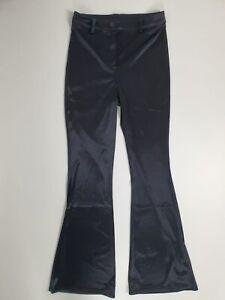 Topshop Black Satin Silky Feel Flare High Waisted Trousers Pants UK 12 14 BNWT