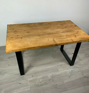 NEW INDUSTRIAL SOLID WOOD RUSTIC HANDMADE CHUNKY RETRO DINING BOX LEG DESK TABLE