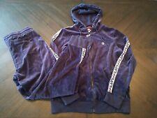 FILA Tracksuit Velour Pants Jacket Set Navy Size Large