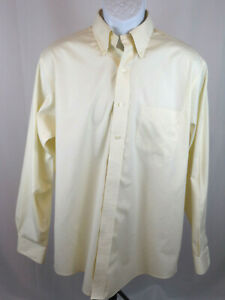 Brooks Brothers Mens 16-34 Yellow Long Sleeve Button Up Dress Shirt B12