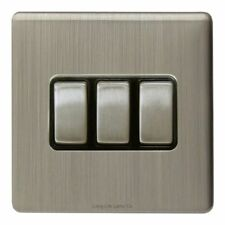 Brushed Chrome 3-Gang Light Switche Home Electrical Fittings