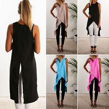 Damen Chiffon Longshirt T-Shirt Tunika Bluse Lange Top Oberteil Hemdbluse Sommer