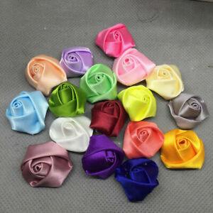 "2"" 25P Mix Satin Rose Appliques Large Ribbon Flower DIY Craft Supplies"
