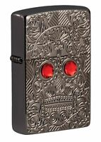 Zippo Crystal Skull Design Armor High Polish Black Ice Windproof Pocket Light...