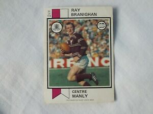 Scanlens 1974 Rugby League Card # No 21 Ray Branighan Manly Sea Eagles NRL Footy