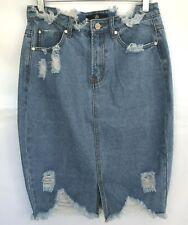 Missguided Damen Blau Denim Rock Größe 10 Rips Raw Edge Saumkanten ausgefranst Taschen