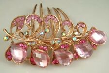 Gold Tone Alloy Clear Pink Glass Crystal Leaves Hair Comb