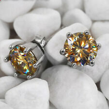 loose Mossanite Brown 2.00 Tcw 6.75 mm 14k White Gold over Earrings set with