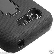 LG OPTIMUS ZONE 2 FUEL L34C VS415 HYBRID S ARMOR CASE W/ STAND SKIN BLACK BLACK