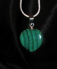 Malachite stone pendant snake chain necklace healing jewelry personal power