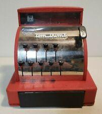 Vintage 1960's Red Tom Thumb Metal Cash Register Mechanisms Work Used CHARITY