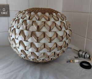 Woven Bamboo Natural Pendant Light Shade Rattan Vintage Tiki Boho Vintage