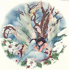 """Winter Forest Fairy 1 pc 7-1/4"""" Waterslide Ceramic Decal Xx"""