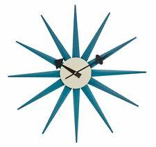 mid century danish modern nelson style blue sunburst star wall clock