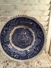 "Vintage Masons Vista Blue Round Veg Bowl Transferware 9""Diameter"