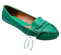 LADIES GREEN SLIP-ON FLAT LOAFERS MOCCASINS CASUAL COMFY PUMPS SHOES SIZES 3-8