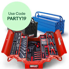 Bullet 118pc Tool Box Kit Set - Cantilever Drill Sockets Wrench Spanners Toolbox