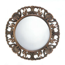 Heirloom Style Ornate Round Wooden Wall Mirror Antique Finish